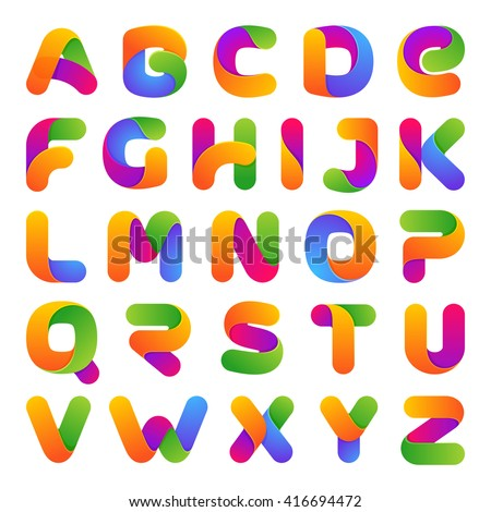 Colorful one line letters set. On white. Font style, vector design template elements for your application or corporate identity.