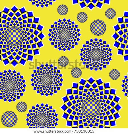 Colorful optical illusion the movement executed from rhombuses and spheres. Unusual abstract seamless background. Can be used as pattern for textile, packing and more. EPS10