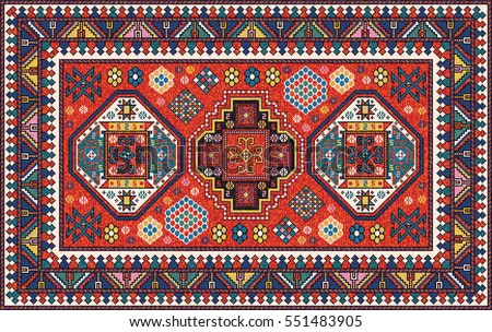Colorful oriental mosaic kazak rug with traditional folk geometric ornament. Carpet border frame pattern. Vector 10 EPS illustration.