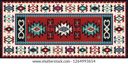 Colorful oriental mosaic kilim rug with a traditional geometric ornaments. Patterned carpet with a border frame. Cross stitch template. Vector 10 EPS illustration.