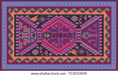 Colorful oriental mosaic kilim rug with traditional folk geometric ornament. Carpet border frame pattern. Vector 10 EPS illustration.