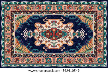 Colorful oriental mosaic rug with traditional folk geometric pattern. Carpet border frame pattern. Vector 10 EPS illustration.
