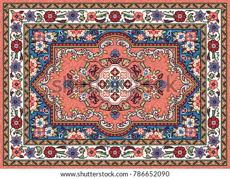 Colorful oriental mosaic Sarouk rug with a classic traditional central flower motif and geometric ornament. Patterned carpet with a border frame. Vector 10 EPS illustration.