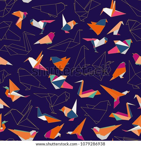 Colorful origami paper swallow birds seamless pattern. Multicolored origami birds, origami silhouettes, forms.