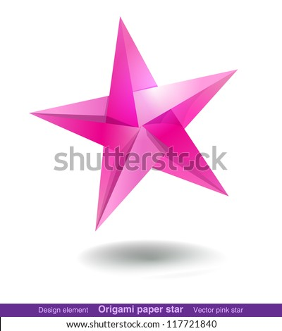 Colorful origami star for web and graphic design