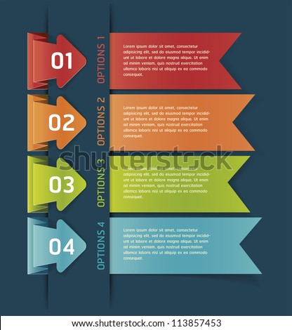 Colorful Origami Style Number Options Banner & Card. Vector illustration