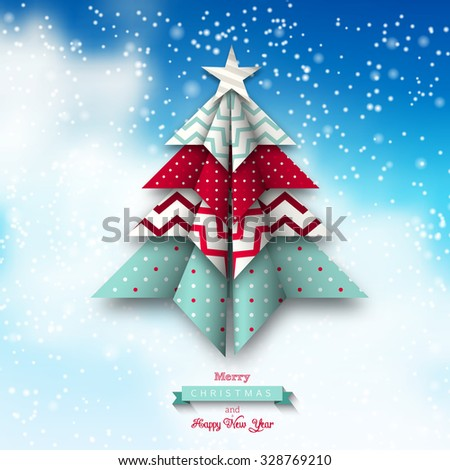 colorful origami tree on