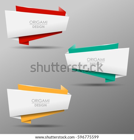 Colorful origami vector banners