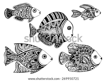 colorful ornamental decorative fishes in tattoo style - Colorful Fish Book