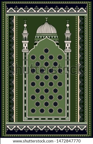 Colorful ornamental vector design for rug, carpet. Geometric backdrop. Arabian ornament with decorative elements. Muslim prayer rug. Islamic textile. Ornamental mosque flooring. Praying arabian mat