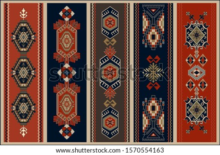Colorful ornamental vector design for rug, carpet, tapestry, shawl. Geometrical ethnic rug. Geometric abstract backdrop. Symmetrical folk ornament with geometric elements. Vector template