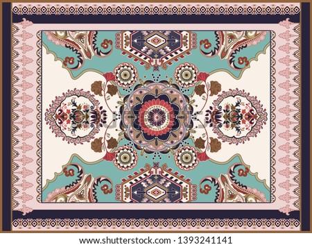 Colorful ornamental vector design for rug, carpet, tapis. Persian rug, textile. Geometric floral backdrop. Arabian ornament with decorative elements. Turkey floral carpet