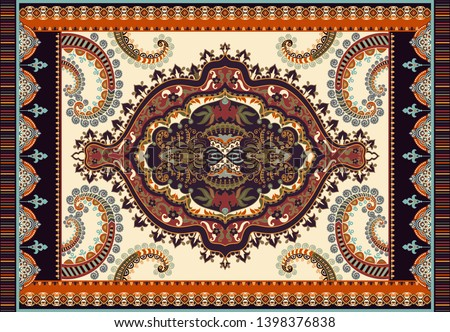 Colorful ornamental vector design for rug, carpet, tapis. Persian rug, textile. Geometric floral backdrop. Arabian ornament with decorative elements. Turkey ornamental carpet. Paisley ornament