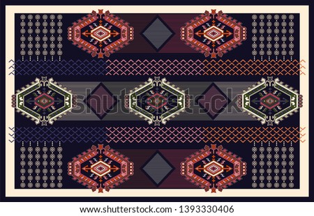 Colorful ornamental vector design for rug, carpet, tapis. Persian, Turkey rug, textile. Geometric floral backdrop. Abstract ornament with decorative elements. Abstract geometric carpet
