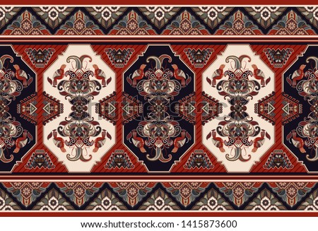 Colorful ornamental vector design for rug, carpet, tapis. Seamless ornamental carpet. Geometric floral backdrop. Arabian ornament with decorative elements. Vector ornamental template
