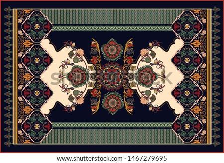 Colorful ornamental vector design for rug, carpet, tapis, yoga mat. Persian rug, towel, textile. Geometric floral backdrop. Arabian ornament with decorative elements. Vector carpet template
