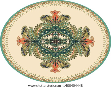 Colorful oval Persian vector design for rug, carpet, medallion. Geometric green, beige floral backdrop. Arabian ornament with decorative elements. Elliptical Turkish carpet with folk national ornament