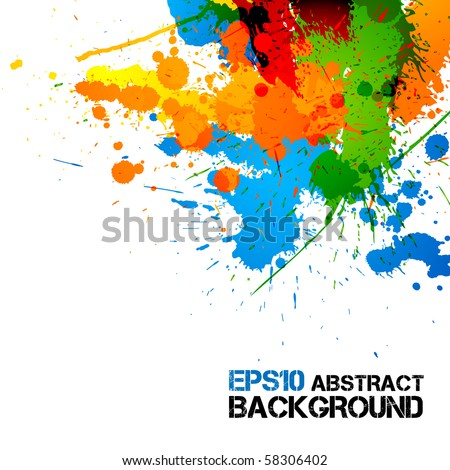 Colorful Paint   Ink Splashes   Drops   Vector Grunge Background