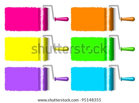 colorful paint rollers