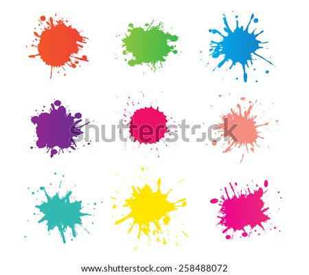 Colorful paint splat.Paint splashes set for design use.Abstract vector illustration