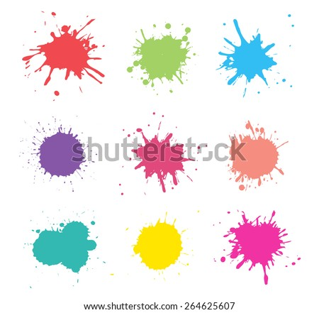 Colorful paint splat.Paint splashes set for design use.Abstract vector illustration.  Stock photo ©