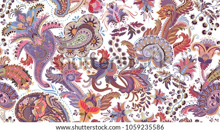 Colorful Paisley pattern for textile, cover, wrapping paper, web. Ethnic vector wallpaper with decorative elements. Indian decorative backdrop