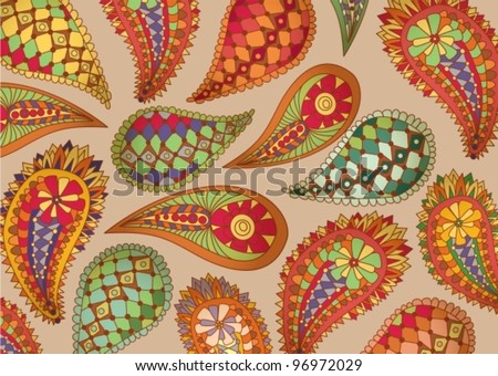colorful paisley pattern,vector illustration