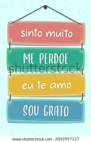 Colorful Pallet Lettering in Brazilian Portuguese. Translation: 'I am really sorry' 'Forgive me' 'I love you' 'I'm grateful' Photo stock ©