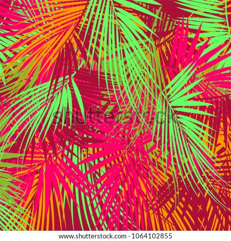 Colorful palm tree branches on abstract background. Vector illustration.