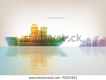 Colorful panorama - abstract background with sea ship and city