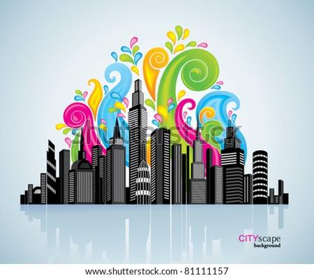 Colorful panorama city.