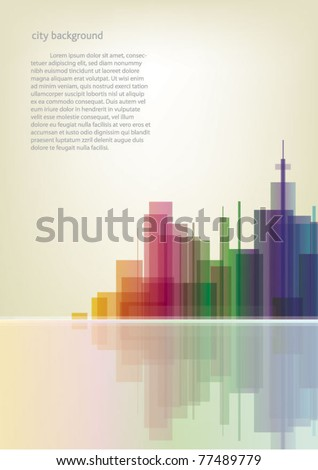 Colorful panorama city vector vertical background