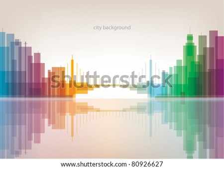 colorful panorama city with
