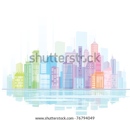 Colorful panorama of  city.
