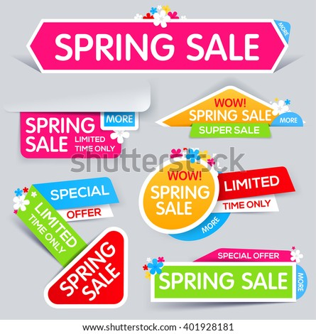 Colorful paper banners for spring sale and discounts offers.