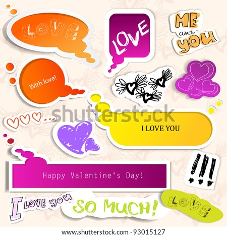 Colorful paper bubble for speech. Valentines day.