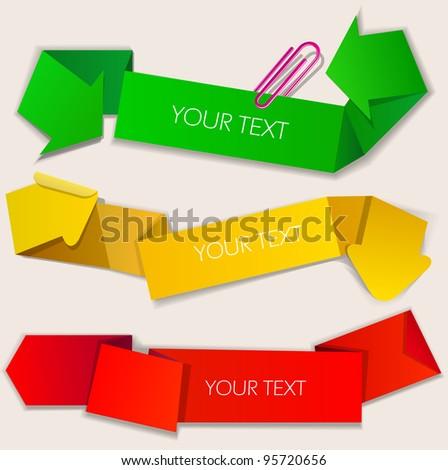 Colorful paper bubbles for speech. Arrow