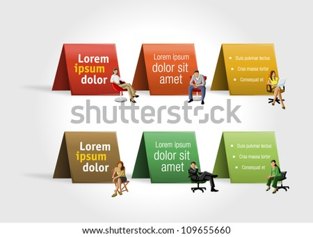 Colorful paper cards with business people on chair