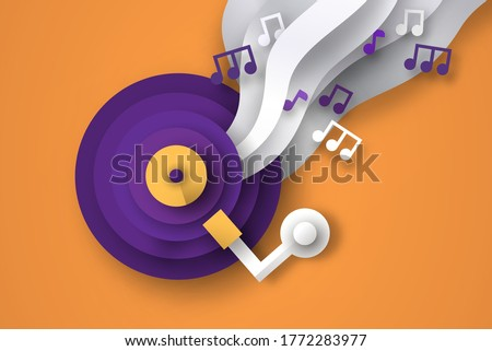 colorful paper cut vinyl music