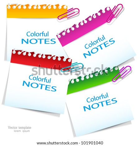 Colorful paper notes with place for text