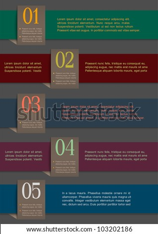 Colorful paper numbered banners. Vector design template
