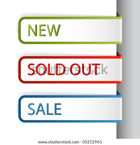 Colorful paper tags for eshop items - new, sale, discount, sold out