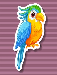 Colorful parrot looking serious on purple background