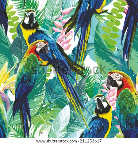 colorful parrots and exotic