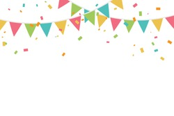 Colorful Party Flags And Confetti On White Background. Celebration & Party. Surprise Banner. festa junina brazil. Vector Illustration