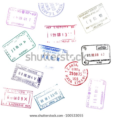 Colorful passport stamps background.
