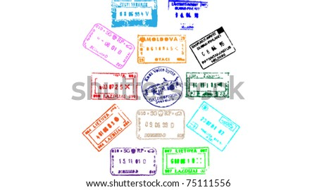 Colorful passport stamps background. vector illustration.