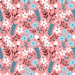 Colorful pastel Flower Seamless Pattern with pink background