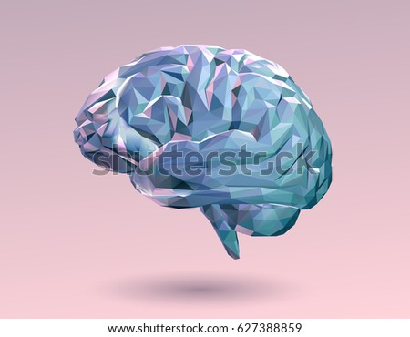 Colorful pastel low poly brain on pink background
