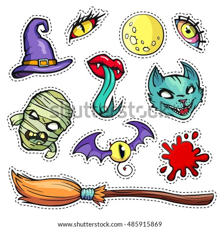 Colorful patch badges of different Halloween attributes. Hand-drawn quirky stickers in old cartoon comic style. Set with witch hat and broom, cat, mummy, monster eyes, bloodstain, moon, lips.